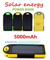 Wholesale 5000mAh Portable USB Port Solar Power Bank Charger External Backup Battery With Retail Box For iPhone iPad Samsung Mobile Phone bank0121