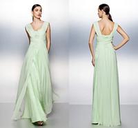 Luz verde del A-line Vestidos de fiesta desgaste de la tarde larga de piso abierto de vuelta con cuentas de las lentejuelas encaje y vestidos de partido de la gasa de encargo de la celebridad del desgaste formal W