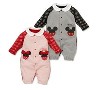 Wholesale Newborn Clothes Autumn Hot Dot Dot Infant Jumpsuit Baby One Piece Clothes Mickey and Minne Printed Toddler Clothes