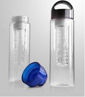 Wholesale 2016 New ML Black cap Fruit Infusing Infuser Water Bottle Sports Health Lemon Juice Make Bottle E808