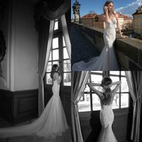 Wholesale 2015 Fall Berta Wedding Dress Sexy Halter Sleeveless Backless Beaded Appliques Lace Mermaid Tulle Skirt Wedding Gowns Custom Made