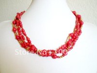 Wholesale Free ship Bulk piece fashion coral jewelry multistrand round bead coral necklace