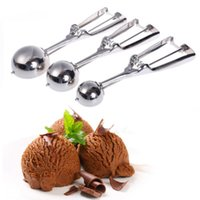 Wholesale NEW Size Stainless Steel Kitchen Ice Cream Scoop Cookie Disher Spoon Masher