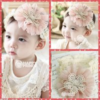 baby accessories cheap - Lovely Pink Big Flowers Accessories Infant Child Lace Princess Babies Girl Hair Band Headband Baby s Head Band Kids Hairwear Cheap