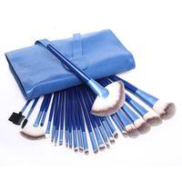 beautiful pc case - New BLUE Makeup Brushes Set Kit Beautiful Professional make Up brush Tools With BLUE Leather Case