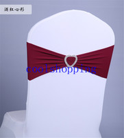 Wholesale DHL Freeshipping Elastic chair cover chair bands back flower bow wedding decoration supplies heart buckle