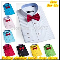 Wholesale Elegant designer XS XXXXL wedding clothing long sleeve mens tuxedo dress shirts for men