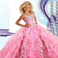 Wholesale 2015 Pink Girl s Pageant Dresses Princess Ruffle Beaded Sequins Tiered Organza Girl s Formal Dresses RG6454
