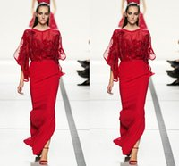 split shorts - Red Evening Dresses Short Sleeve Long Length Sheath Corset Chiffon Tulle See Through Appliques Side Split Sexy Prom Gown