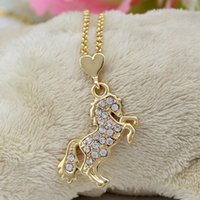 lead free nickel free - Lead Nickel Free Equestrian Horse Jewelry Made of Zinc Alloy with Czech Crystal Gold Plated Rhinestone Crystal Horse Necklace