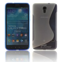 Wholesale Free DHL Shipping Hot Sale Anti Skin S Line Shape TPU Gel Cover Case For Samsung GALAXY Mega T2558