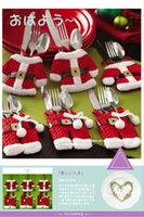 bags bottles - 2014 Hot Sale Mini Christmas Santa clothes tableware Kitchen Cutlery Suit Holders Porckets Knifes and Folks Bag bottle bag clothes and pant