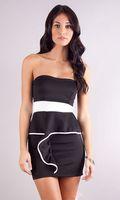 Cheap Peplum Cocktail Dresses Best Black White Short Dress