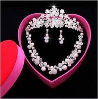 Wholesale 2015 Wedding Dress Jewelry Set Crystal bridal three piece Necklace Earring Crown Pearls Party Jewelry