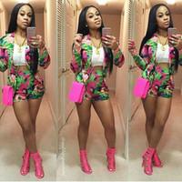 2016 Sexy 2 piece set aderente casuale breve tuta pagliaccetti estate donne della stampa manica della tuta Donne lungo pantaloni corti vestito S-XL F999