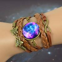 animal wristbands - 16 styles DIY Braided Bracelet Bangles Milky Way Galaxy Cabochon Infinity Charms Wristband Cuff Leather Bracelet For Women Men