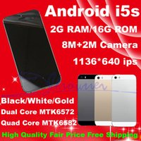 Wholesale Goophone i5s Smartphones Quad Core MTK6582 Cell Phones Android G RAM G ROM Screen Dual Core MTK6572 Mobiile Phones