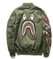 mens chaqueta bape tiburón estilo de rock nueva moda chaqueta de hip hop de la cremallera de algodón otoño invierno chaquetas militares hombres en bata de deporte al aire libre