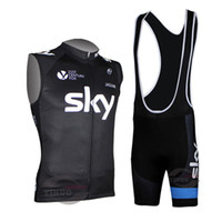 Wholesale 2014 sky black Cycling Sleeveless jersey vest bib strap shorts outdoor sports jersey only bike sleeveless Ciclismo clothing