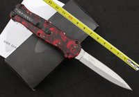61 - BM Red skeleton Infidel silver Blade Double Action HRC Black Nylon Sheath Camping knife outdoor tool survival knife knives