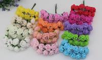 foam flowers - 6 off hot sale cm head Multicolor PE rose foam mini flower Bouquet solid color Scrapbooking artificial rose flowers