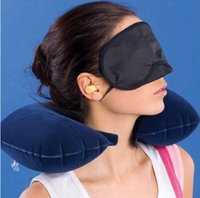 Wholesale Super in1 Travel Set Inflatable Neck Air Cushion Pillow eye mask Ear Plug Comfortable business trip