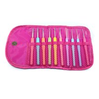 Wholesale 10PCS Cute Mulitcolor Mixed Metal Hook Crochet Template Kit Needles Set Weave Craft Stitches Package