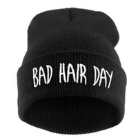 bad promotions - Promotion Casual Unisex Rushed Letter Acrylic Hats Caps Women Beanies Bad Hair Day Hat Winter Cap Beanie Girls Gorro H013