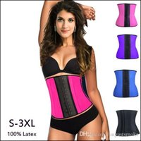 Wholesale 9 steel bone Latex Rubber corset body shaper Waist Trainer training corsets Corset Latex Corset Latex Waist Cincher Slimming Shapewear hot