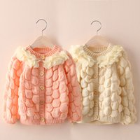 Wholesale Petals sweater autumn winter Children s knitted Coat cardigan single breasted lace thick warm coats for girls