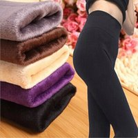 Wholesale 2016 Fall Winter Sexy Women Leggings Fur Thick Warm Fleece lined Fur Winter Lady s Black Tights Pencil Pants Colors M139
