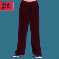 Wholesale JW17 Tai chi pants gold tai chi clothes shadowboxed hypertensiveperson pants velvet autumn and winter thickening martial arts