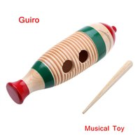 Wholesale Fish Shaped Wooden Guiro Toy Musical Instrument Kid Children Gift Musical Toy Latin American Percussion Instrument