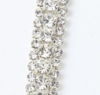 wedding decorations - MIC Row Costume Applique Crystal Rhinestone Trims Silver x Yard Wedding Decorations