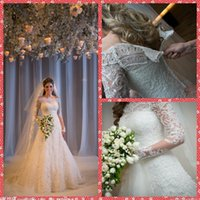 Wholesale Selling Gowns Online - Top Sell Online Bateau Neck Long Sleeve Mermaid Wedding Dresses Lace Appliques Natural Slim Chapel Train Bridal Gowns 2016 Personal Custom