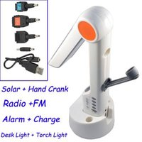 solar radio flashlight - 4pcs DHL EMS Solar Powered Hand Crank Reading Desk LED Light FM Radio FlashLight Japan Universal Charger for Mobile Phone