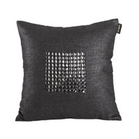 Wholesale Modern square cotton linen glass drill HANDMADE Craft Decor Throw Pillow Cases Cushion Cover pillow cover order lt no track