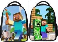 2015 chaud Minecraft Sac à dos Sac jeu Cartoon Kids School PVC étanche Enfants Garçons Double sac d'épaule Couleurs mélangées Envoyer