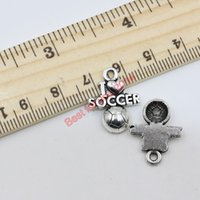 Wholesale 150pcs Antique Silver Plated I Love Soccer Charms Pendants for Jewelry Making Craft DIY Handmade x16mm