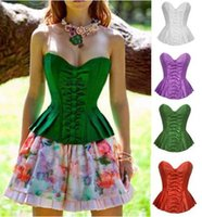 gothic design corset - Brand New Plus Size Corset Skirt Design Overbust Corsette Corpet Green Purple White Red Top Cropped Shaperwear Bustiers Gothic