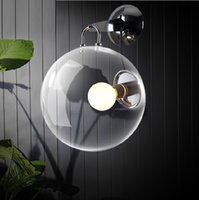 cafe lights - 1 glass ball wall lamp retro industrial light project hotel room bedroom wall light novelty indoor light E27 Cafe Bar lamp