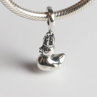 animal pan - Fits Pan Bracelets mm mini duck dangles charms Silver Beads Cubic Zirconia Sterling Silver Charms for DIY Jewelry