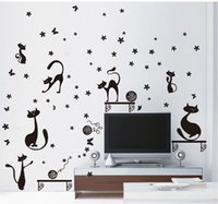Wholesale New black cat wall stickers poster vinilos paredes art decals sticker for home decoration