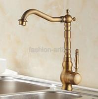 Wholesale Vintage Retro Antique Brass Single Handle Swivel Spout Kitchen Sink Faucet Cold Hot Mixer Tap asf012