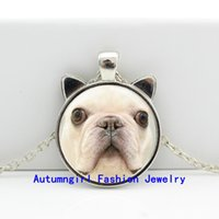 american bulldog white - 2016 New French Bulldog Necklace French Bulldog Pendant Glass Jewelry Glass Photo Pendant Necklace CN
