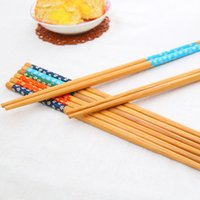 Wholesale 10 Pairs Natural Bamboo Chopsticks Sushi Food Chinese Style Five Colors Chopstick Eco Friendly Kitchen Tableware
