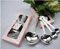 Wholesale 200 BBA4633 Heart Shaped Spoons set Wedding Favors LOVE gifts Tea Time heart shaped Stainless Herbal Tea infuser spoon set tableware