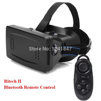 Wholesale RITECH II Head Mount Plastic VR Virtual Reality D Glasses With Magnet Google Cardboard Bluetooth Gampad Shutter controller A5