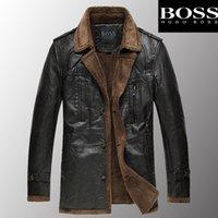 Wholesale BOSS men s suit jacket collar men s leather jacket coat solid color quality men s leather jacket