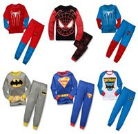 Wholesale Baby Clothes Boys Cartoon Spiderman Superman Batman Casual Suits Sets T shirt Pants Boys Clothes Outfits Tracksuits Children Kids Clothes